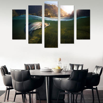 Hooked Fish Canvas Wall Art