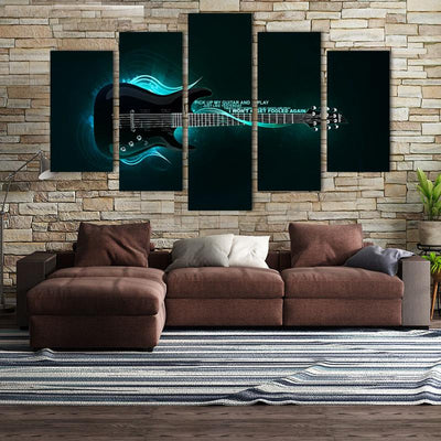 5PCS Blue Guitar On Fire Canvas Wall Art - Canvas Monsters