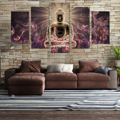 5PCS Abstract Buddha In The Sun Canvas Wall Art