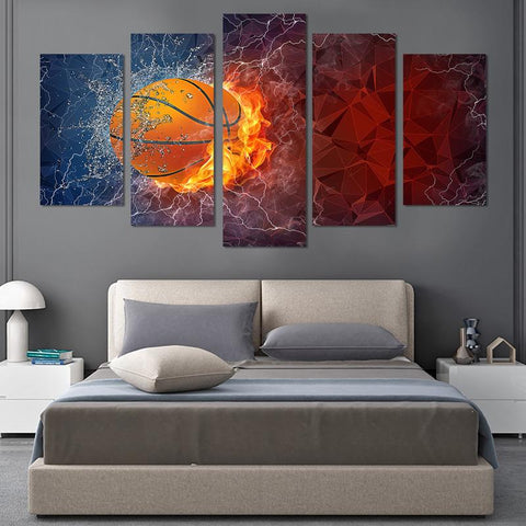 Image of 5PCS Splash Basketball Canvas Wall Art