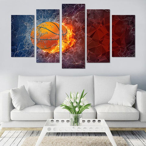 5PCS Splash Basketball Canvas Wall Art