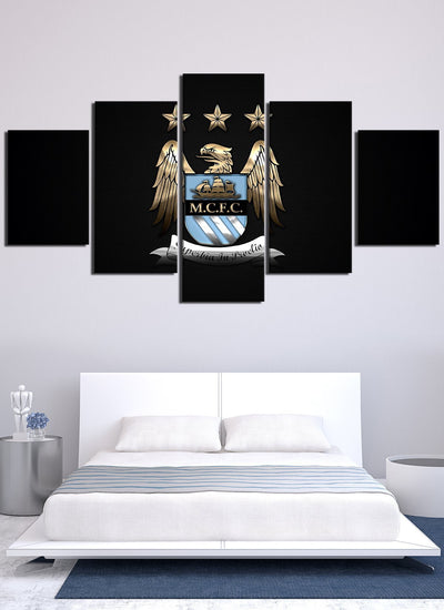 Dark Manchester City Flag Canvas Wall Art - Canvas Monsters