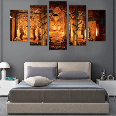 5PCS Buddha in the hall canvas wall art