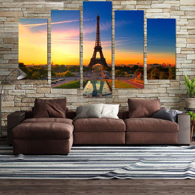 Eiffel Tower In Sunset Canvas Wall Art - Canvas Monsters