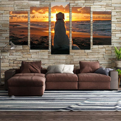 Golden Retriever In Sunset Canvas Wall Art - Canvas Monsters