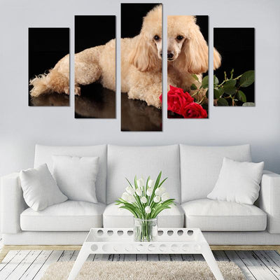5PCS Poodle with roses canvas wall art