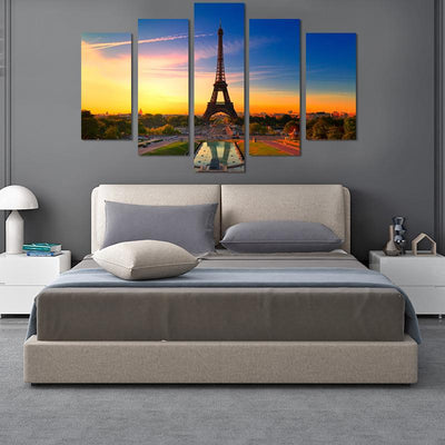 Eiffel Tower In Sunset Canvas Wall Art