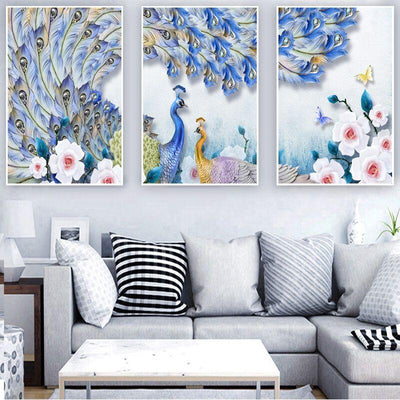 3 PCS Peacock Lover Canvas Prints