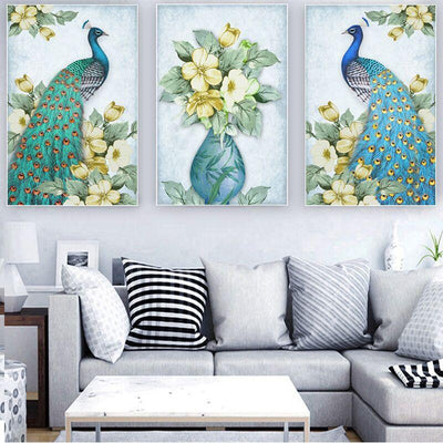 3 PCS Green Peacock with Flower canvas prints
