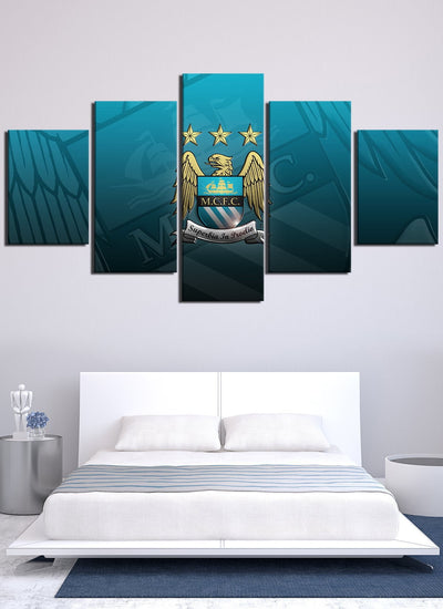 Blue Manchester City Flag Canvas Wall Art