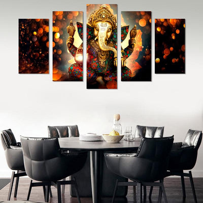 5PCS Lord Ganesh Canvas Wall Art
