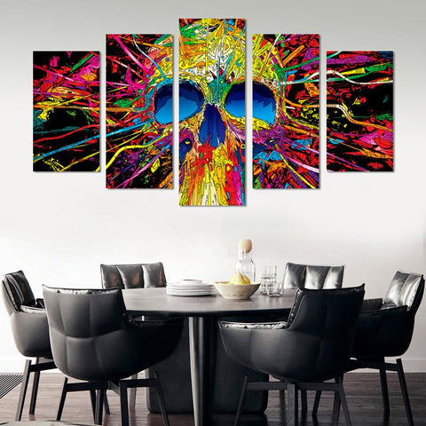 Image of Colorful Skull Canvas Wall Art