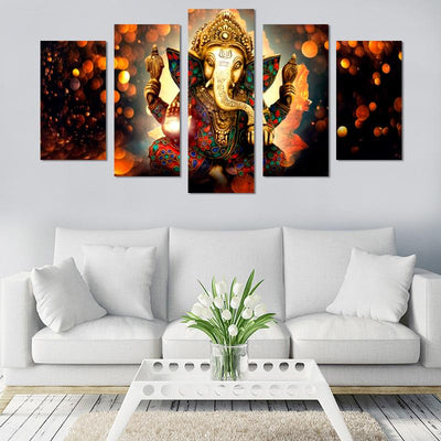 5PCS Lord Ganesh Canvas Wall Art - Canvas Monsters