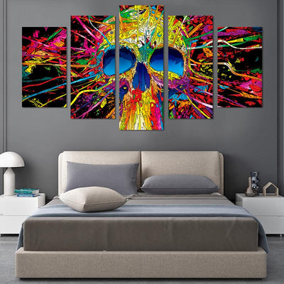 Colorful Skull Canvas Wall Art - Canvas Monsters