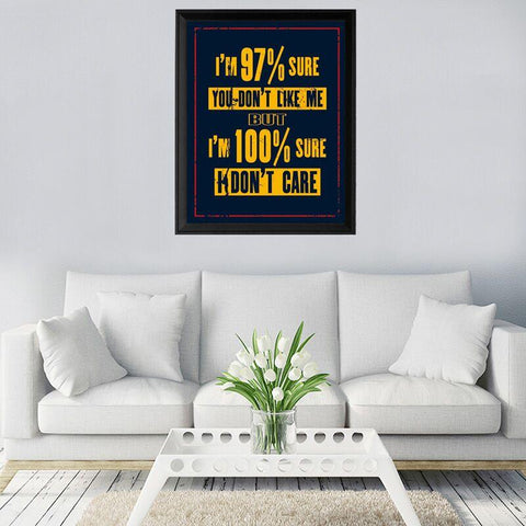 I Don't Care Canvas Wall Art