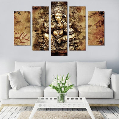 5PCS Abstract Lord Ganesh Canvas Wall Art - Canvas Monsters