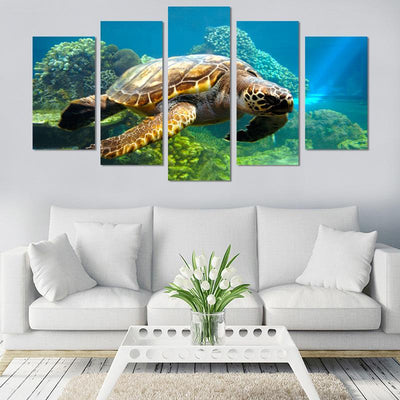 Swimming Turtle Canvas Wall Art - Canvas Monsters