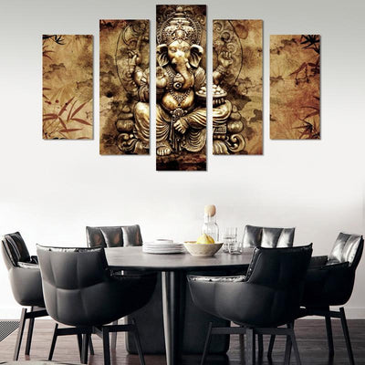 5PCS Abstract Lord Ganesh Canvas Wall Art