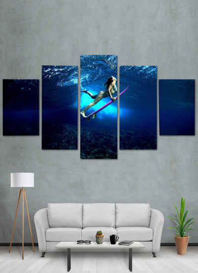 Surfing Girl Canvas Wall Art