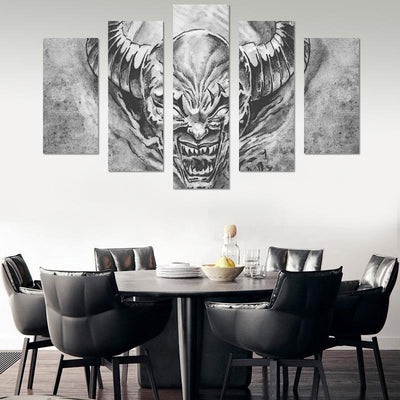 5PCS Devil With Horns Canvas Wall Art