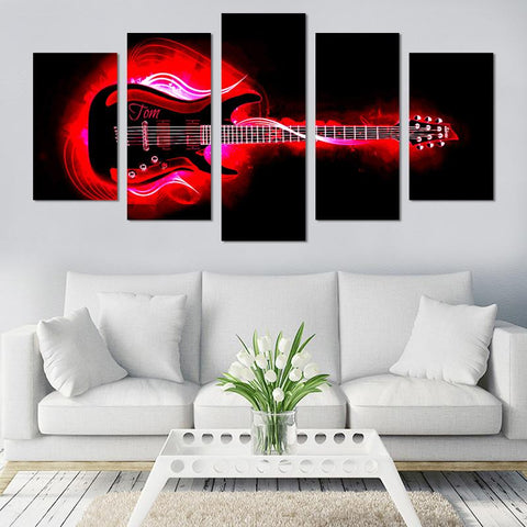 Image of 5PCS Red Guitar On Fire Canvas Wall Art