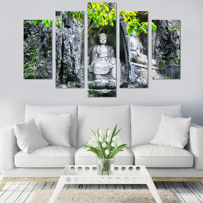 5PCS Two Sitting Buddha Canvas Wall Art - Canvas Monsters