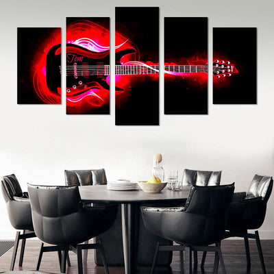 5PCS Red Guitar On Fire Canvas Wall Art