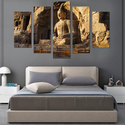 5PCS Sitting Buddha In Sunset Canvas Wall Art