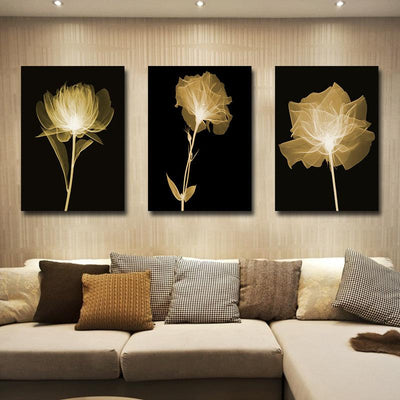 3 PCS Black & White Flower Canvas Prints