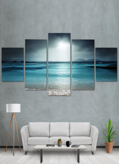 Dark amazing beach canvas wall art