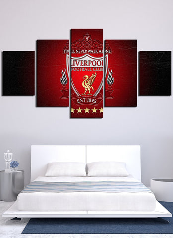 Red Liver Pool Flag Canvas Wall Art