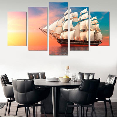 Sailing boat in sunset canvas wall art