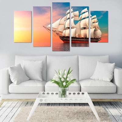 Sailing Boat In Sunset Canvas Wall Art - Canvas Monsters