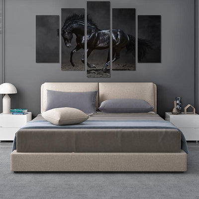 Black Horse Canvas Wall Art