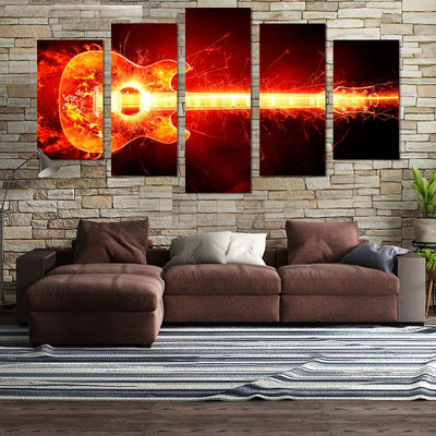 5PCS Splash Guitar On Fire Canvas Wall Art