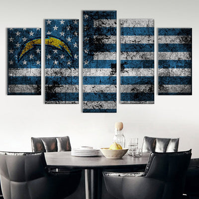 Los Angeles Chargers American flag Canvas Prints - Canvas Monsters