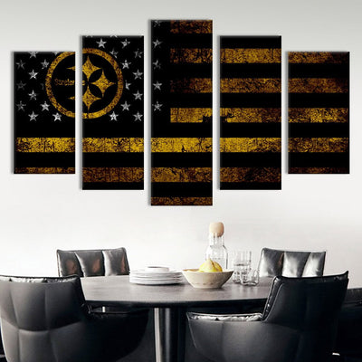 Pittsburgh Steelers American flag Canvas Prints - Canvas Monsters