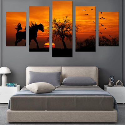 Horse In Sunset Canvas Wall Art