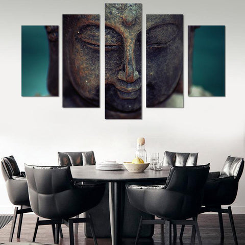 Image of 5PCS Meditating Buddha Canvas Wall Art
