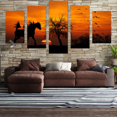 Horse In Sunset Canvas Wall Art - Canvas Monsters