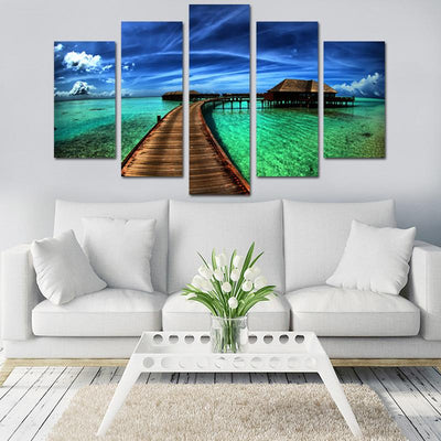 Bridge In Paradise Canvas Wall Art - Canvas Monsters