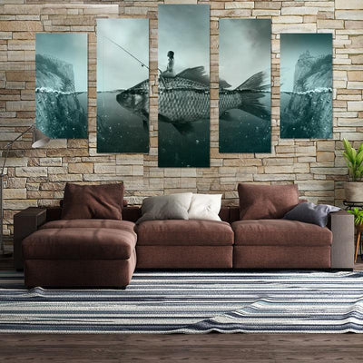 Lady Sitting On Fish Canvas Wall Art