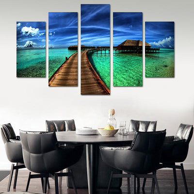 Bridge in paradise canvas wall art