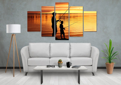 Father & Son Fishing Canvas Wall Art - Canvas Monsters