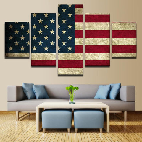 Rustic American Flag Canvas Prints