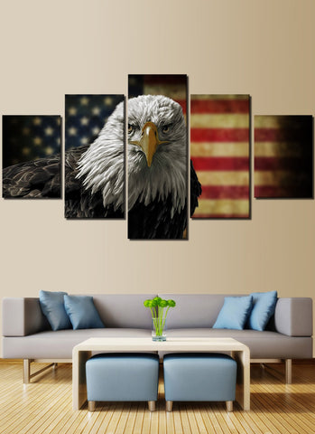Eagle American Flag Canvas Prints