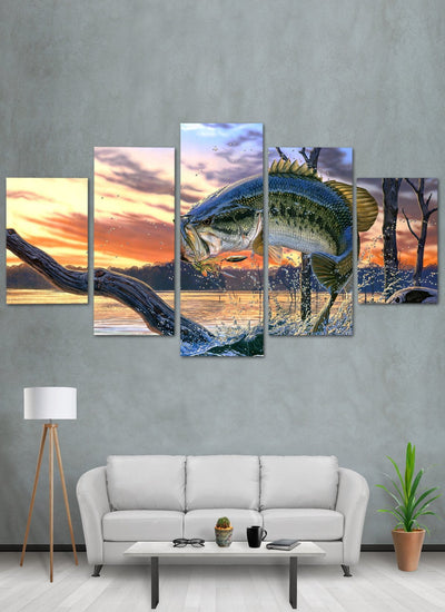 Bass Fishing Canvas Wall Art
