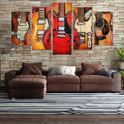 5PCS Vintage Guitar On Fire Canvas Wall Art - Canvas Monsters