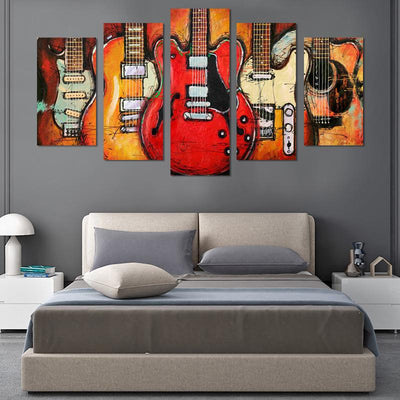 5PCS Vintage Guitar on fire canvas wall art