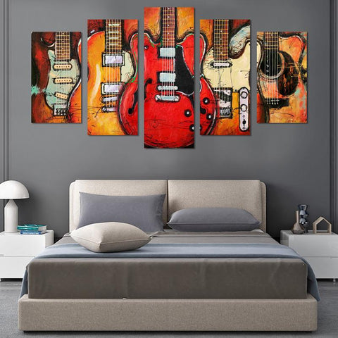 Image of 5PCS Vintage Guitar On Fire Canvas Wall Art